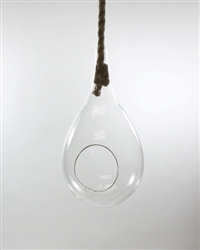 "Giant 16"" Glass Tear Drop Plant Orb/Terrarium with Rope Hanger"