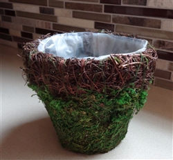 "4"" Moss Basket With Wicker Rim"